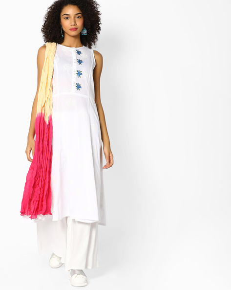 Embroidered Kurta With Crushed Dupatta By AJIO ( White )