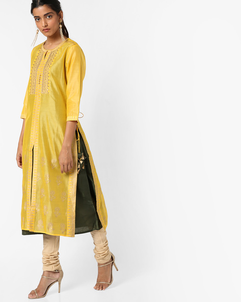 Layered Sequinned Kurta With Churidar By Melange By Lifestyle ( Yellow )