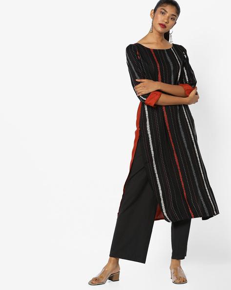 Straight Kurta With Roll-Tab Sleeves By AVAASA WORKWEAR ( Black )
