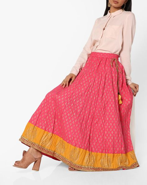 Printed Skirt With Tasselled Tie-Up By Melange By Lifestyle ( Fuschia )