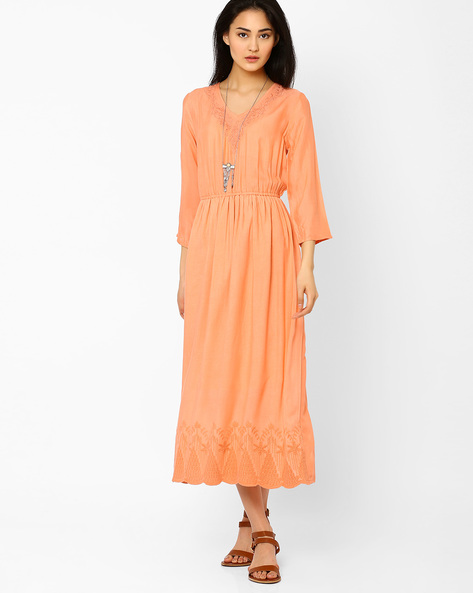 Maxi Dress With Embroidered Hemline By AJIO ( Peach )