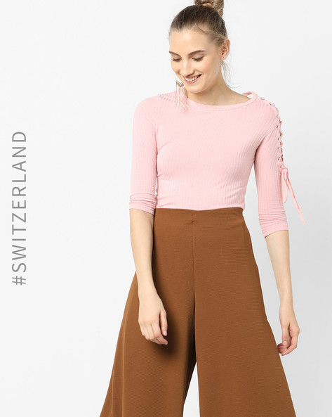 Ribbed Top With Lace-Up Sleeve By TALLY WEiJL ( Pink )