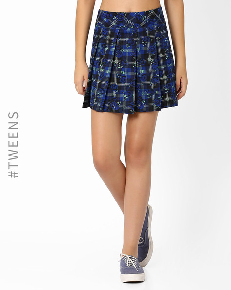 Pleated Mini Skirt By AJIO Girl ( Blue )