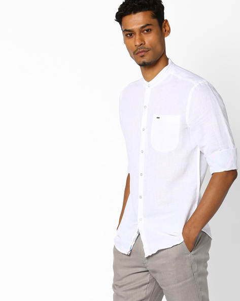 Shirt With Mandarin Collar By Lee ( White )