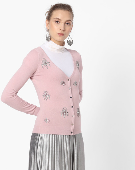 Embellished V-neck Cardigan By CODE By Lifestyle ( Lilac )
