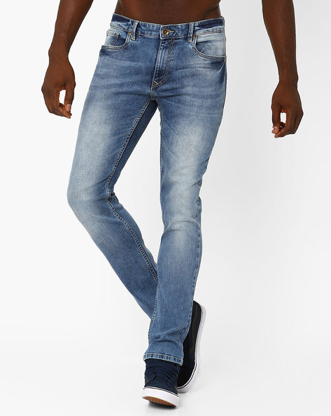 Lightly Washed Slim Tapered Fit Jeans By AJIO ( Lightblue )