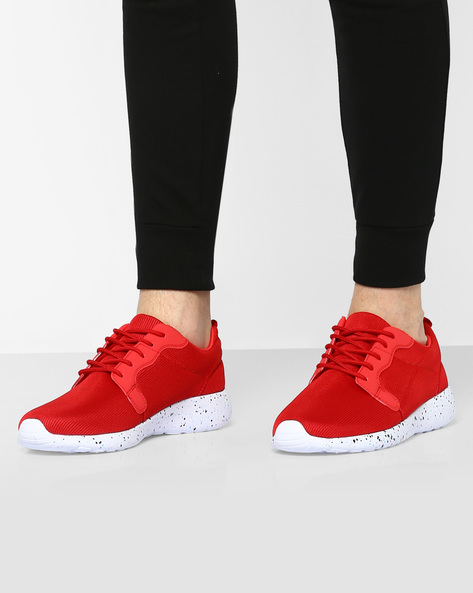 Lace-Up Sneakers With Speckled Outsole By AJIO ( Red )