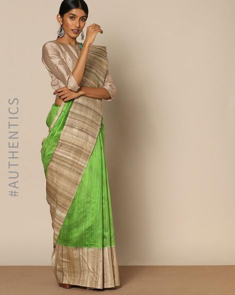 Hand Painted Pure Silk Tussar Designer Saree By Rudrakaashe-MSU ( Green )