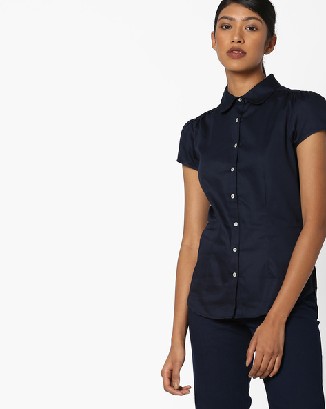 Cotton Shirt With Short Sleeves By FIG ( Navy )