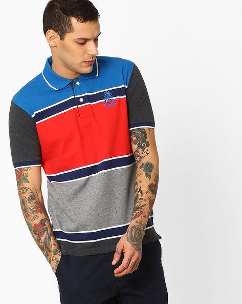 Colourblock Polo T-shirt With Striped-Tipped Hems By DUKE ( Ltblue )