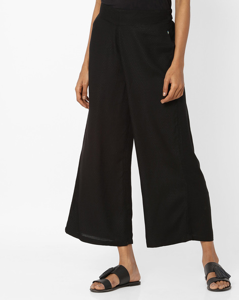 Mid-Rise Palazzos With Semi-Elasticated Waist By AVAASA MIX N' MATCH ( Black )