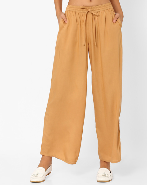 Palazzo Pants With Elasticated Waistband By AJIO ( Beige )