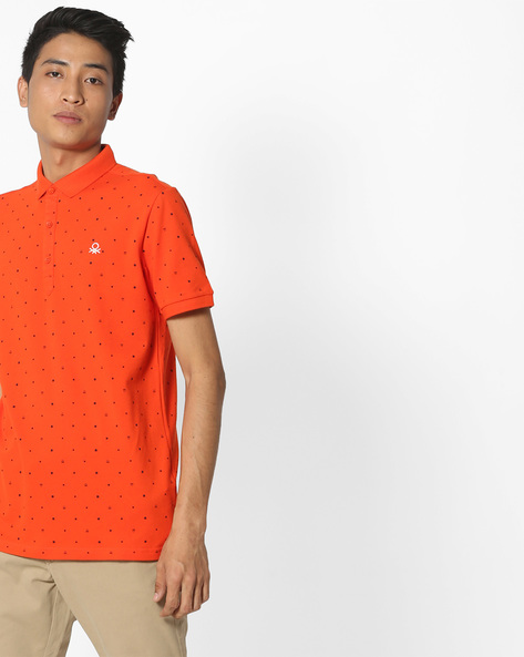 Polka-Dot Print Polo T-Shirt By UNITED COLORS OF BENETTON ( Red )