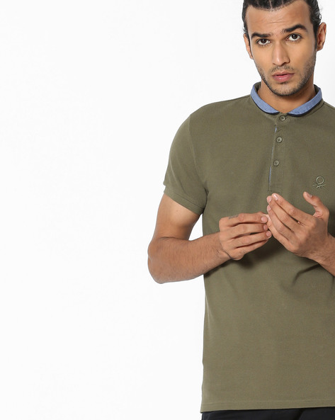 Textured Polo T-shirt With Contrast Collar By UNITED COLORS OF BENETTON ( Multi )