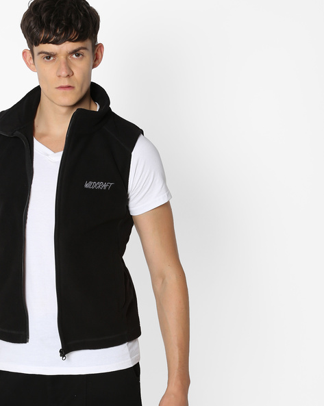 Sleeveless Fleece Jacket With Front Zipper By Wildcraft ( Black )