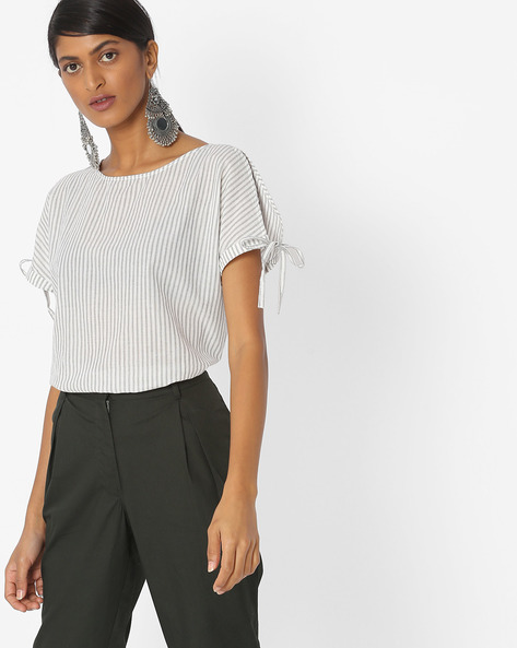 Striped Top With Tie-Ups By Vero Moda ( White )