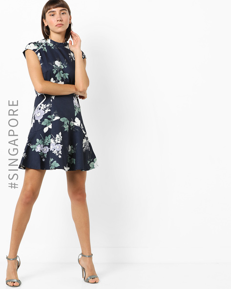 Floral Print A-line Dress With Cap Sleeves By MDS ( Navyblue )