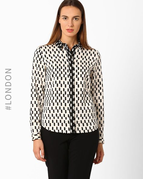 Printed Long Sleeve Shirt By Marks & Spencer ( Offwhite )