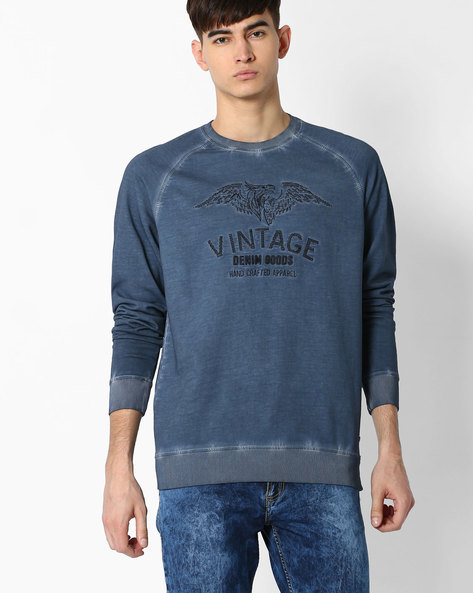 Pigment Dyed Slim Raglan Sweatshirt By DNM X ( Blue )