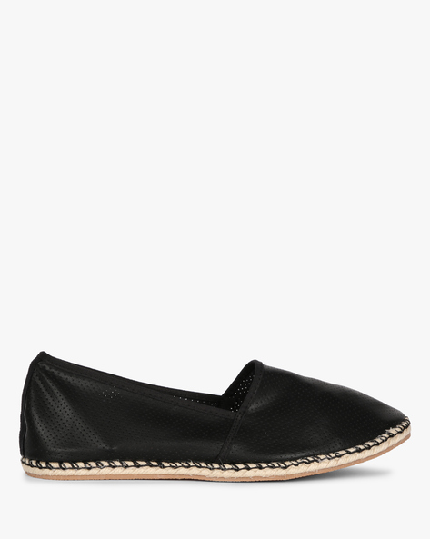 Panelled Espadrilles With Perforated Upper By AJIO ( Black )