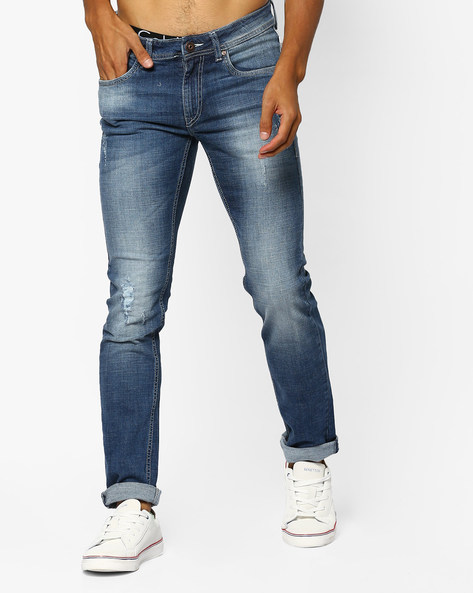 Mid-Washed Skinny Fit Jackson Jeans By FLYING MACHINE ( Blue )