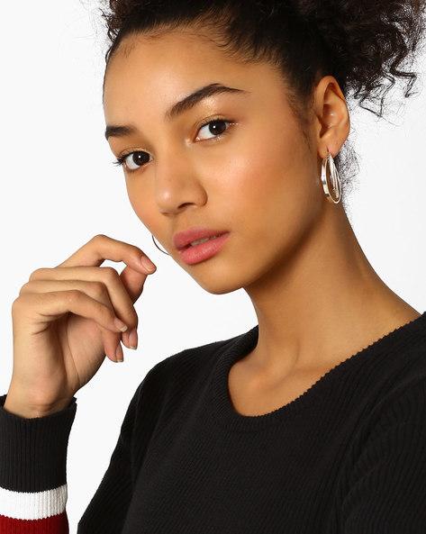 Dual-Layered Hoop Earrings By Bauble Beads ( Silver )
