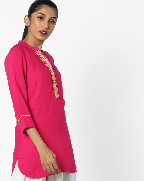 Collared Tunic With Curved High-Low Hem By Juniper ( Magenta )