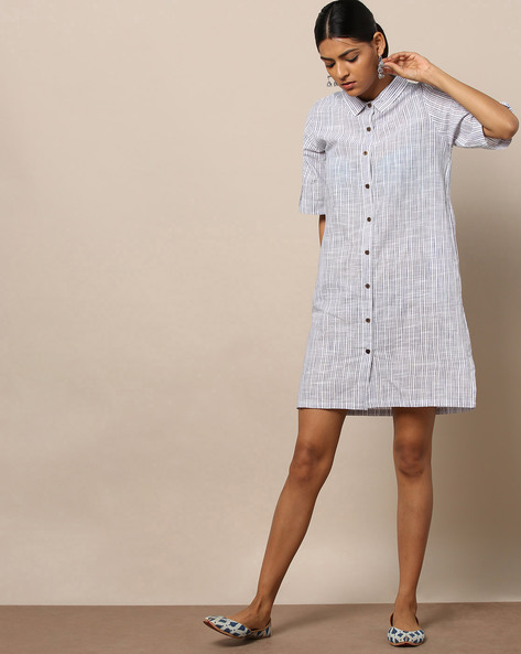 Striped South Cotton Shirt Dress By Indie Picks ( Blue )