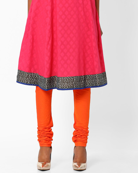 Churidar Pants With Drawstring Waist By AJIO ( Orange )