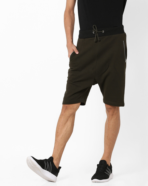 Flat-Front Shorts With Drawstring Fastening By AJIO ( Olive )