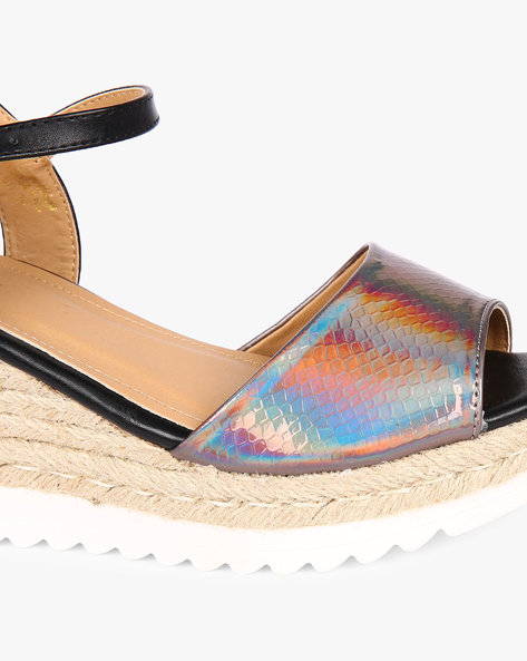 Shimmery Wedges With Buckle Closure By AJIO ( Pewter )
