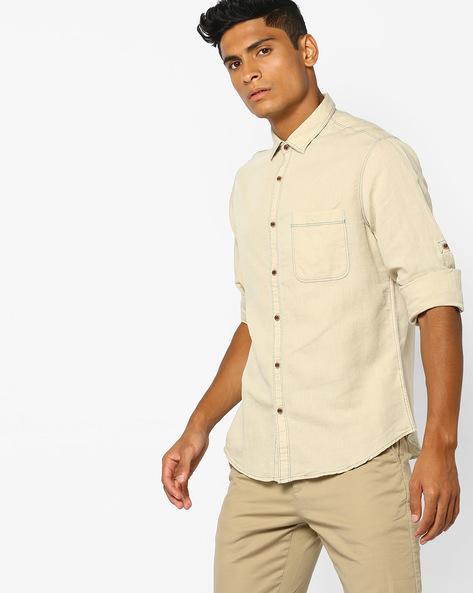 Cotton Linen Shirt With Contrast Stitch By AJIO ( Khaki )