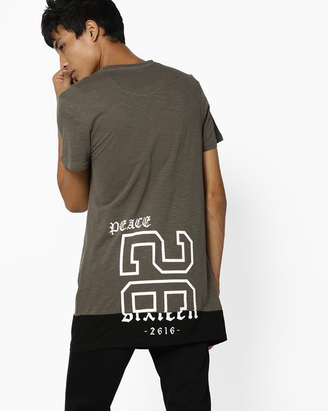 Panelled T-shirt With Printed Back By AJIO ( Green )