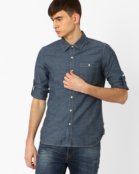 Regular Fit Shirt With Curved Hem By LEVIS ( Blue )