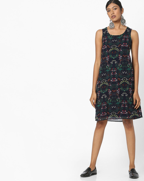 Tropical Print A-line Dress By FIG ( Navy )