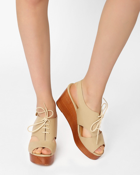 Peep-Toe Lace-Up Wedges By AJIO ( Grey )