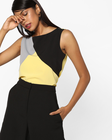 Sleeveless Cut & Sew Top By AJIO ( Yellow )