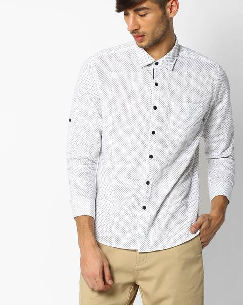 All-Over Print Shirt With Roll-Up Tabs By NETPLAY ( White )