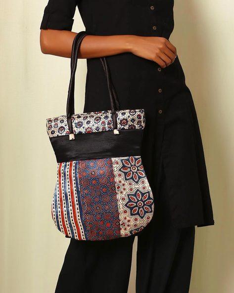Handblock Print Mashru Silk Tote Bag By Indie Picks ( Multi ) - 460059239001