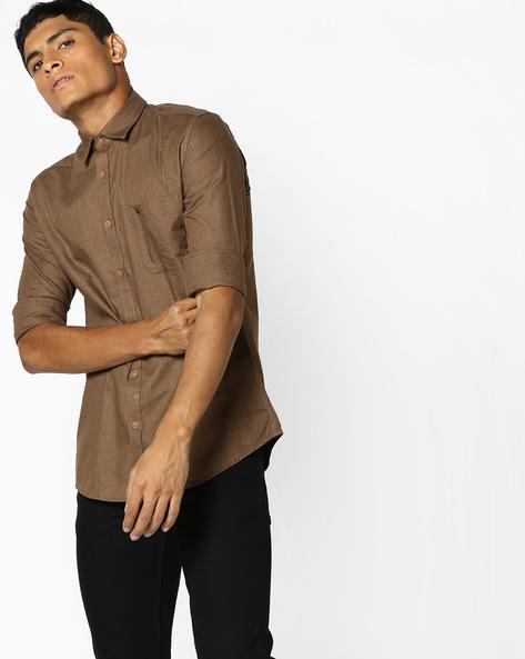 Slim Fit Shirt With Curved Hem By British Club ( Khaki )