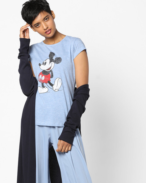 Mickey Mouse Print Crew-Neck T-shirt By Free Authority ( Blue )