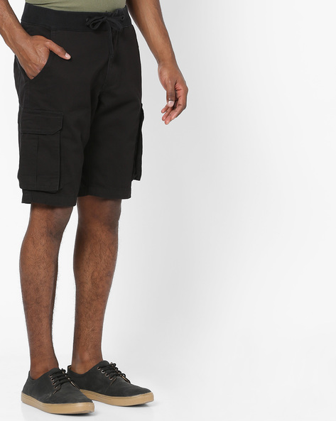 Cargo Shorts With Drawstring Waist By DNMX ( Black )