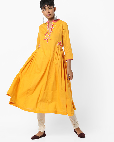 Embroidered A-line Kurta With Mandarin Collar By AJIO ( Yellow )