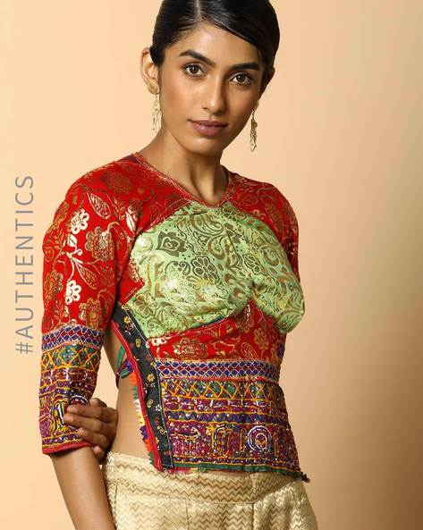 Kutch Embroidered Backless Blouse By Indie Picks ( Multi ) - 460103663001