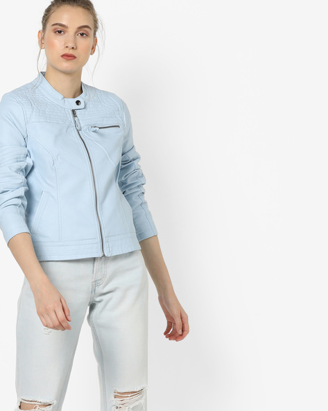 Zip-Front Jacket With Pockets By Vero Moda ( Iceblue )