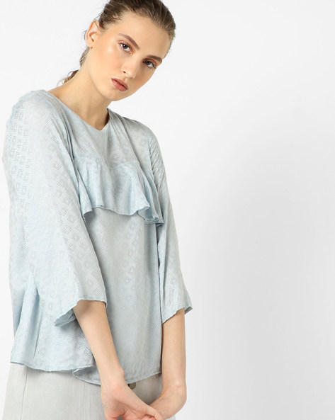 Top With Woven Motifs By CODE By Lifestyle ( Blue )