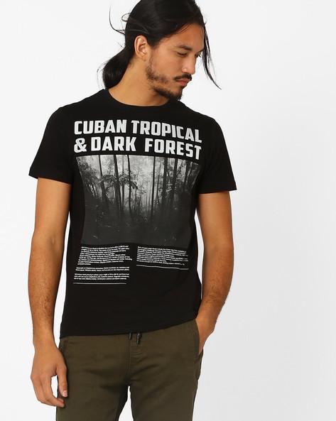 Cuban Tropical Print T-shirt By AJIO ( Black )