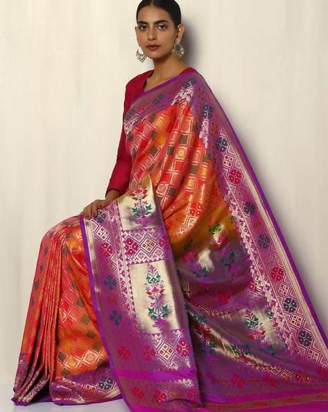 Patola-Style Brocade South Silk Saree By Pretty Woman ( Pink )