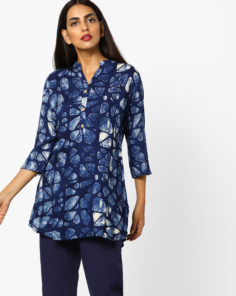 HD Print Tunic With Button Placket By SOCH ( Navyblue )