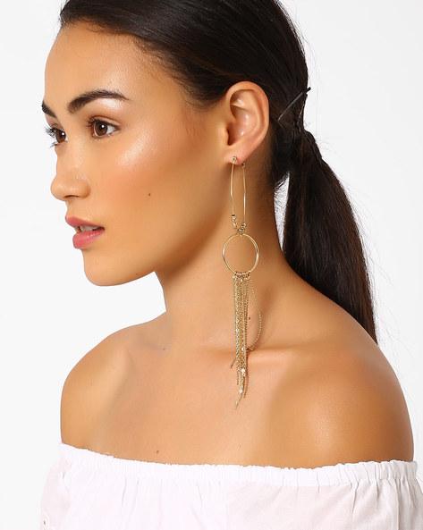 Double Hoop Tassel Earrings By Pipa Bella ( Gold )